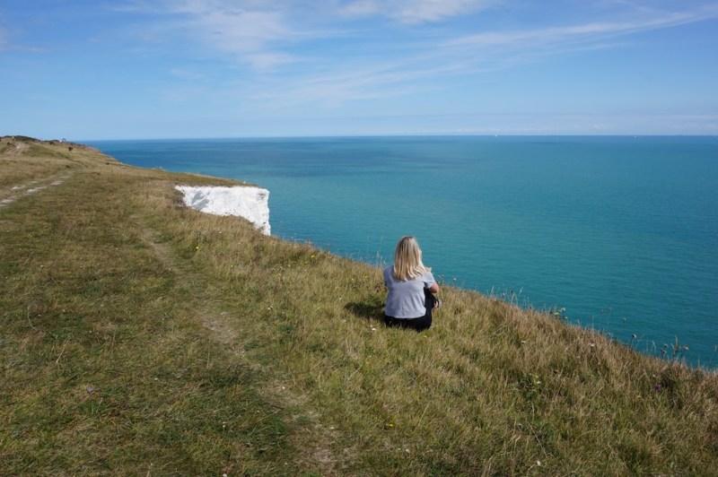White Cliffs of Dover from London, Ellie Quinn on cliffs