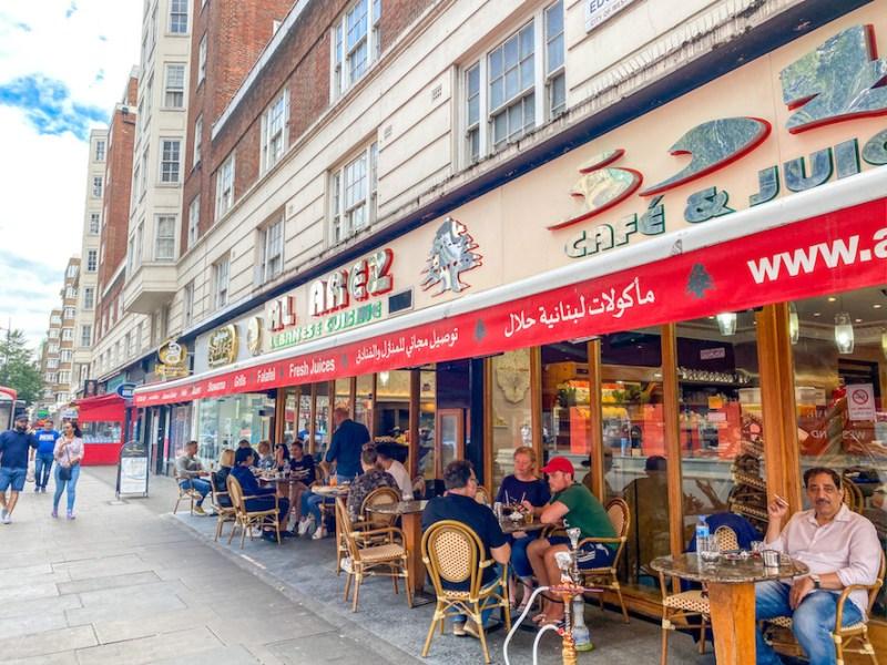 arab areas in London, Lebanese Restaurant Edgeware Road, Al Arez