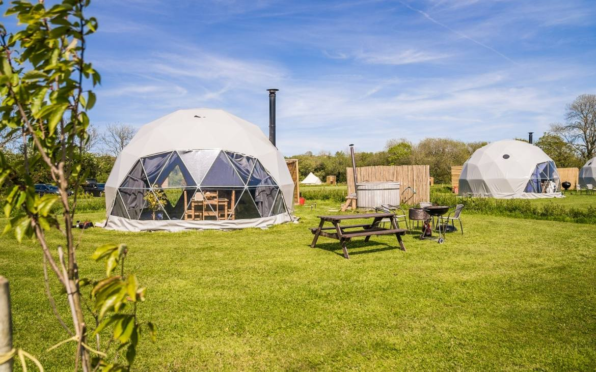 Glamping pods in Wales with hot tub, Beavers Retreat Glamping outside