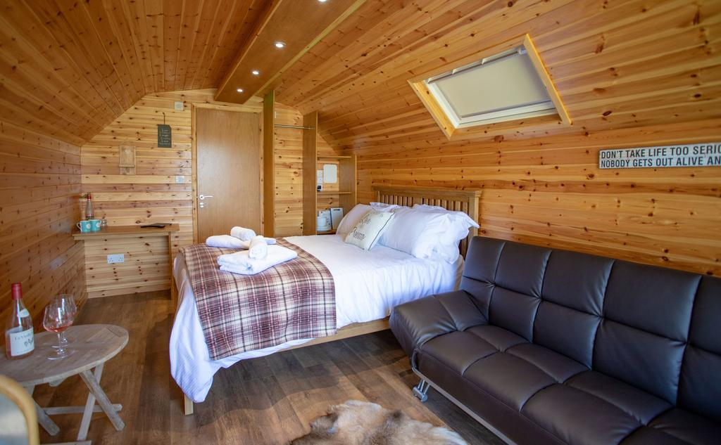 Brynteg Glamping Pod inside, glamping pod with hot tub wales