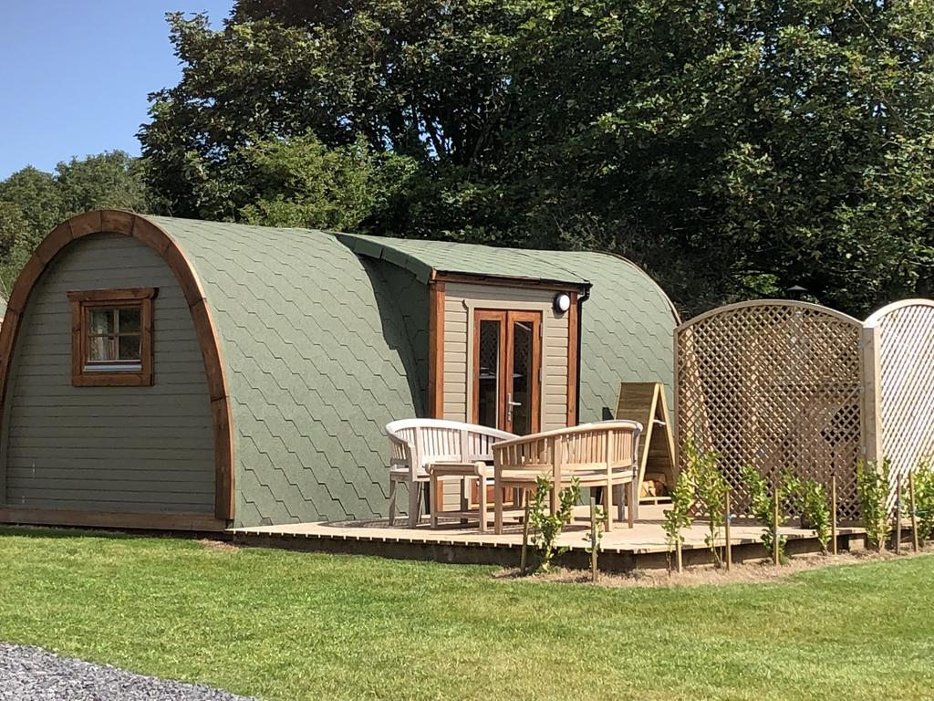 Brynteg Glamping Pod outside, glamping pod with hot tub wales