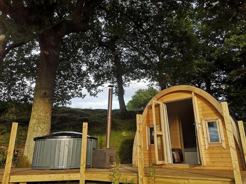 Tan-y-Dderwen Pod outside, glamping pod with hot tub wales