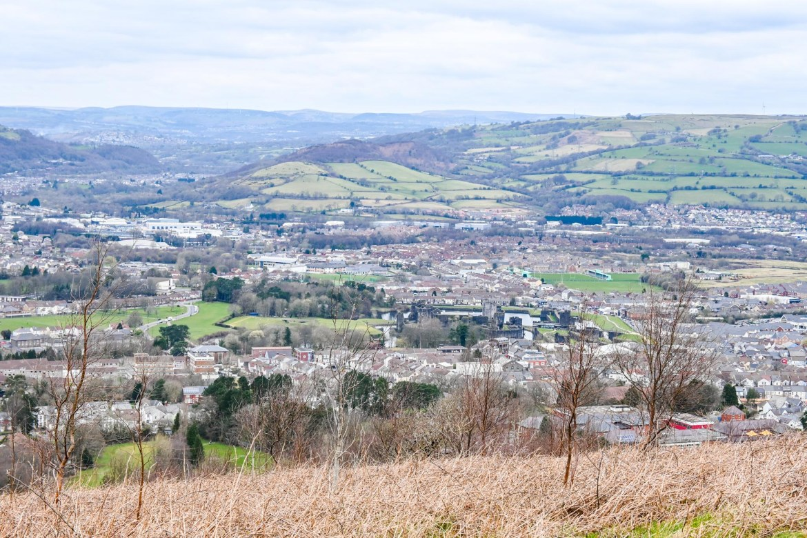 Caerphilly Mountain View over Caerphilly town