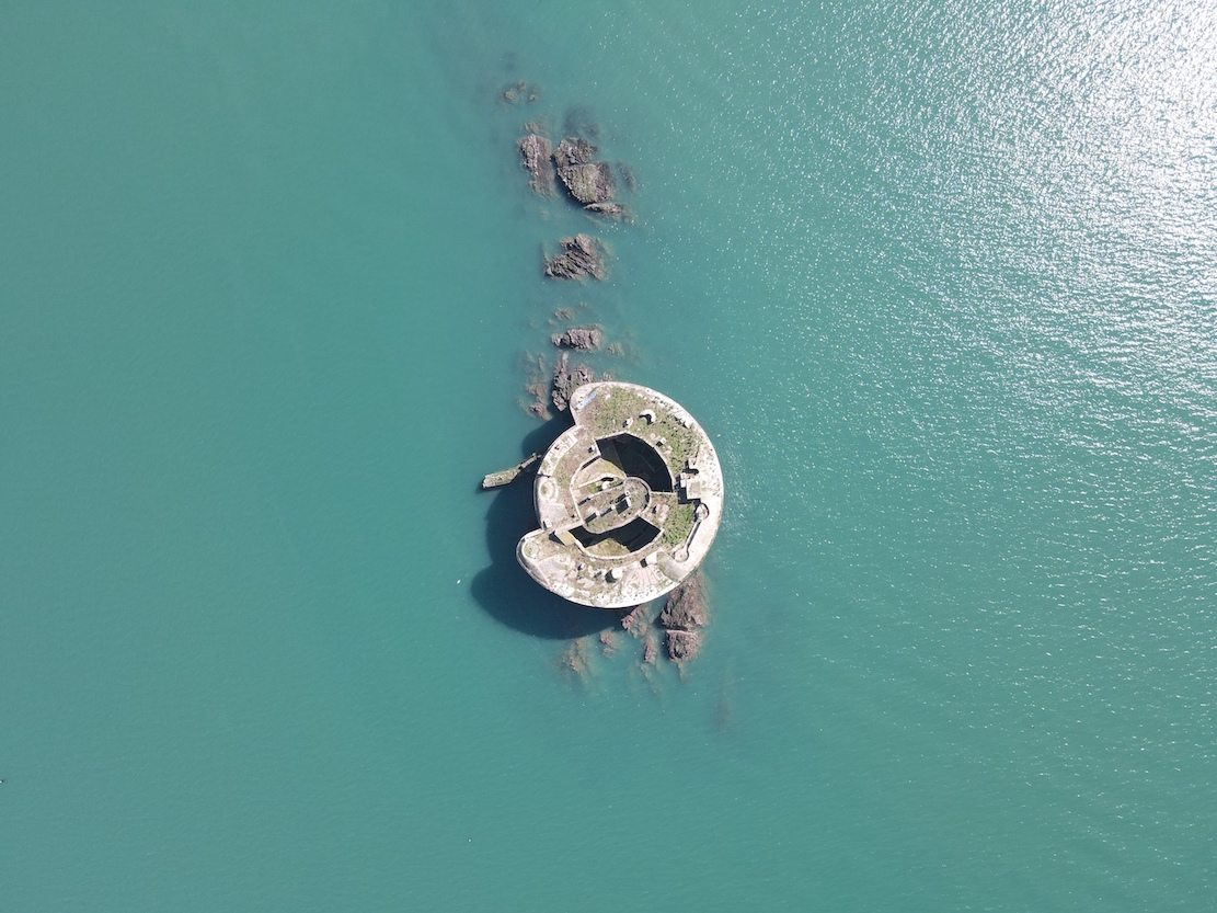 drone image of Stack Rock Fort