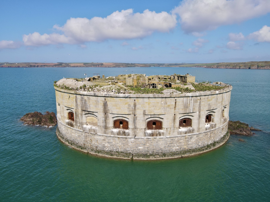 drone shot of Stack Rock Fort