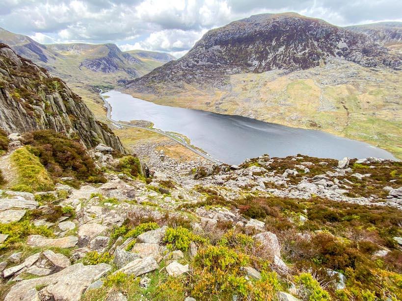 Climbing Tryfan, view of Llyn Ogwen