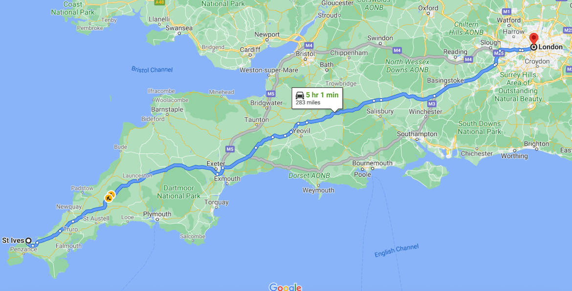 Cornwall Road Trip from London best Route