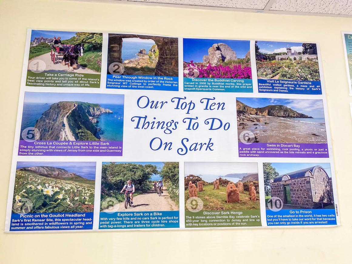 Things to do on Guernsey, things to do in Sark sign