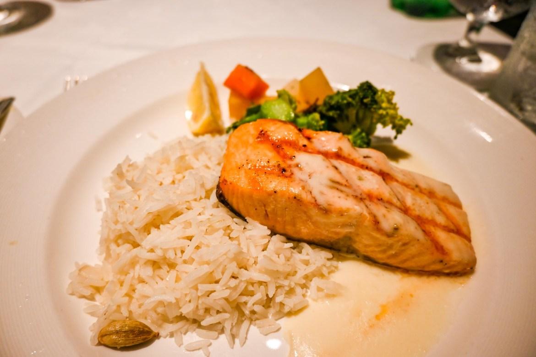 Princess Cruises from Southampton, Salmon dish in Cielo restaurant