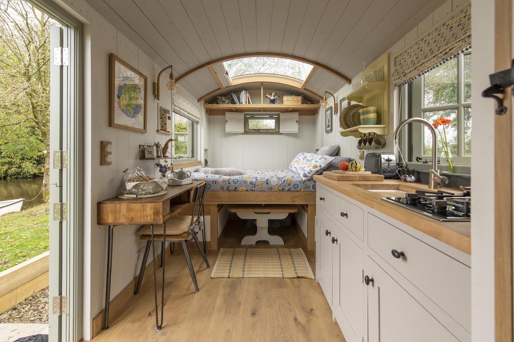 glamping in Devon, Shepherds hut inside