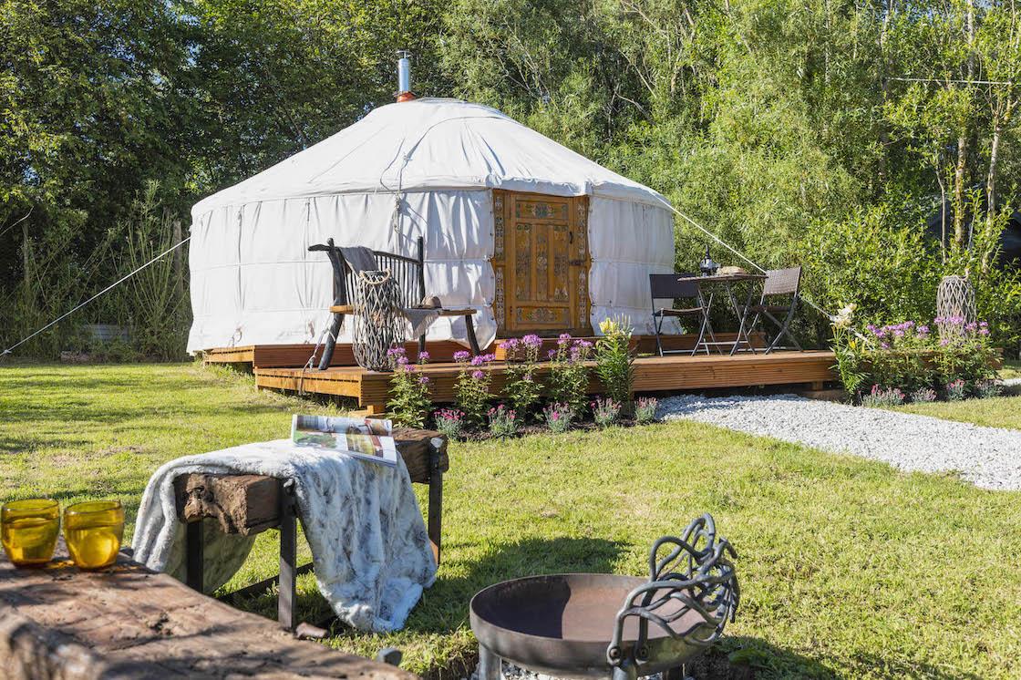 glamping in Devon, Yurt in Devon outside
