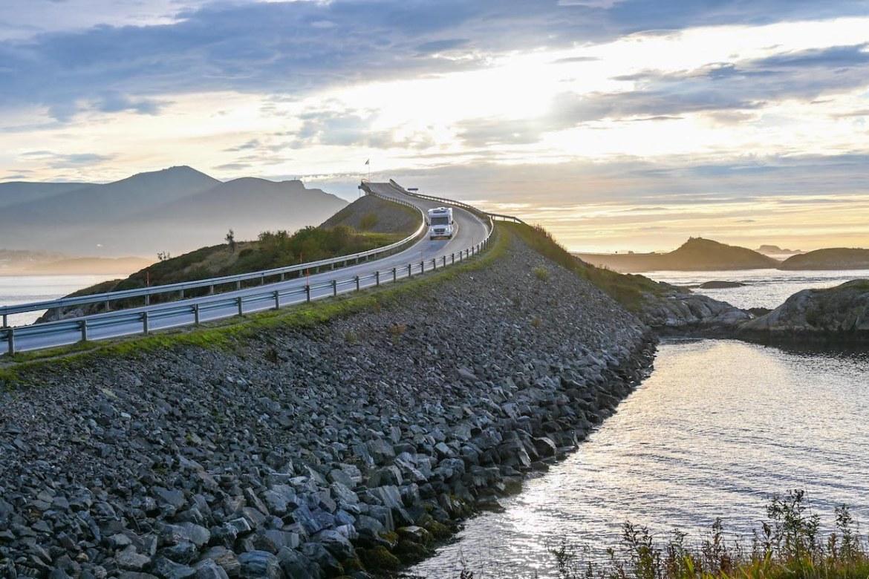 Norway road trip, sunset at Atlantic Ocean Road