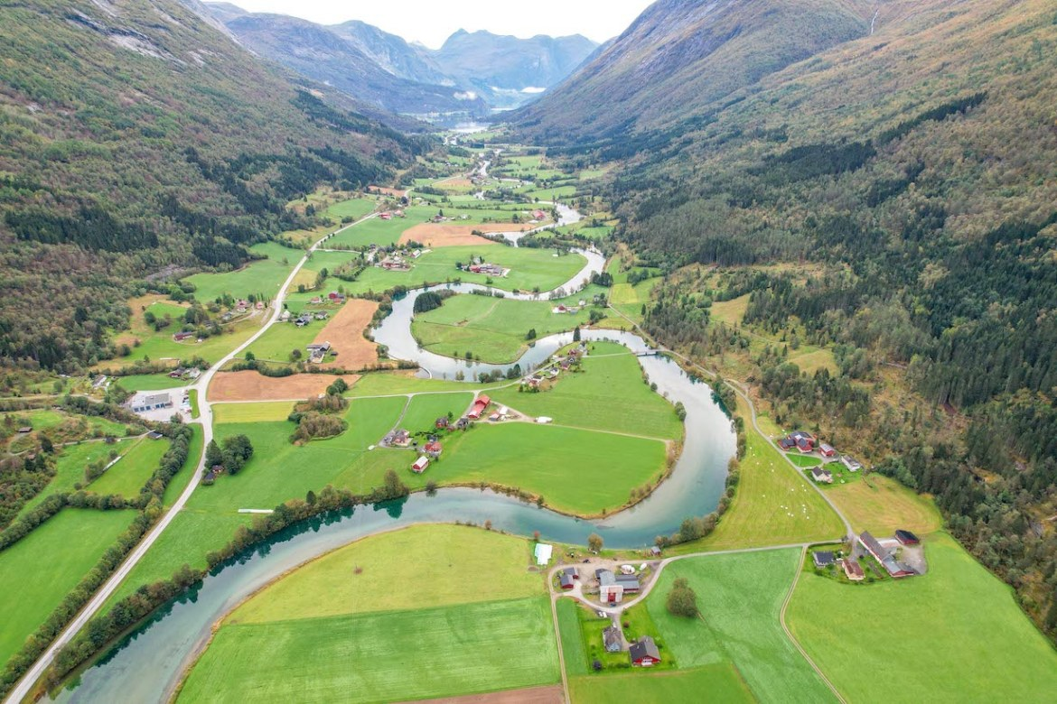 Norway road trip, Stryn River from drone
