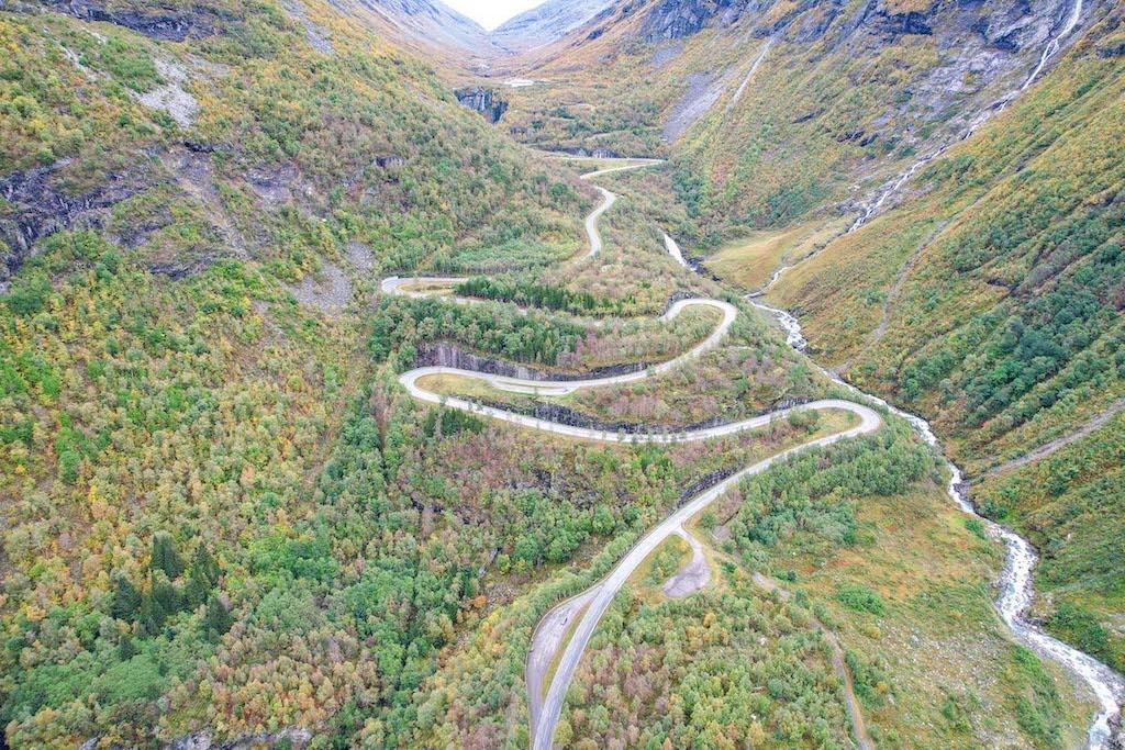 Norway road trip, hairpin bend roads
