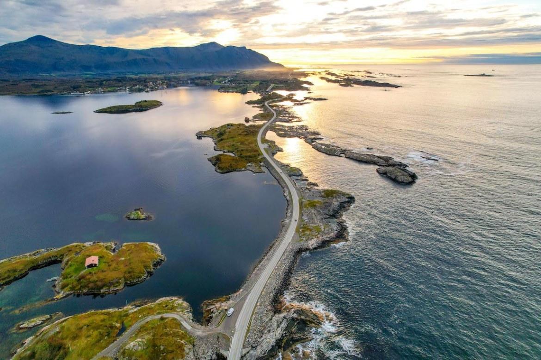 Atlantic Ocean Road Norway, Drone Shot