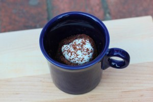 Chocolate mug cake gluten free with whipped cream