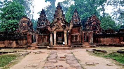 Banteay Srei Glows Red After Rain