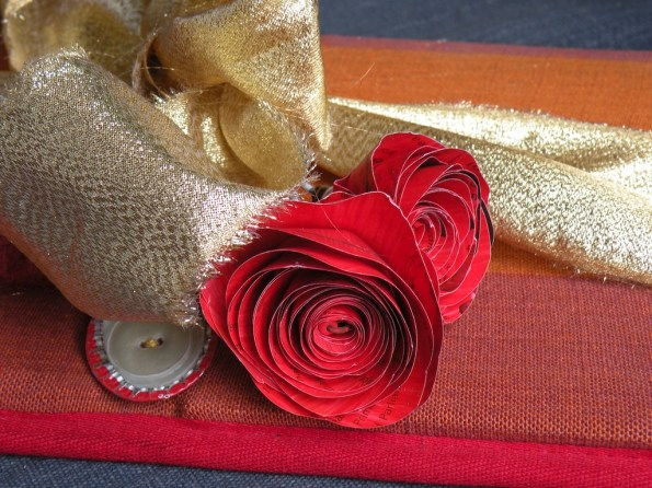 Roses, ribbons and bottle top buttons