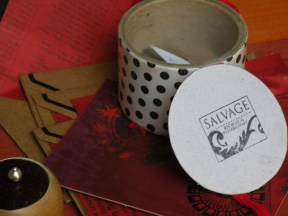 I loved this cute little box made from a roll of packaging tape and simple cardboard bottom and lid