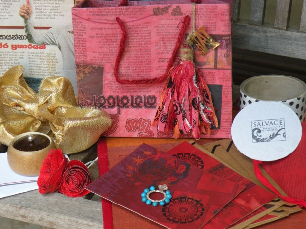 Roses, ribbons and recycled note cards