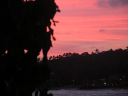 A pink sunset from my favourite sunset site - the verandah at Sun 'n Sea, Unawatuna, Sri Lanka