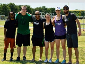 A few coaches, interns, and an athlete we trained after playing some pick up frisbee