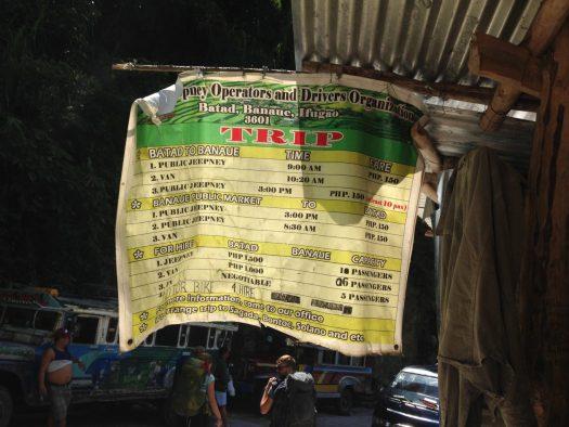 Matrix of transpo in Batad