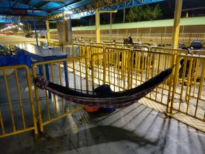 Slept in my hammock at Cebu port while waiting for ferry the next morning