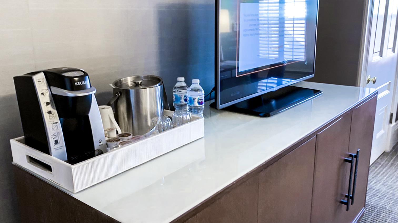 Hotel del Coronado Keurig and Water bottles in room