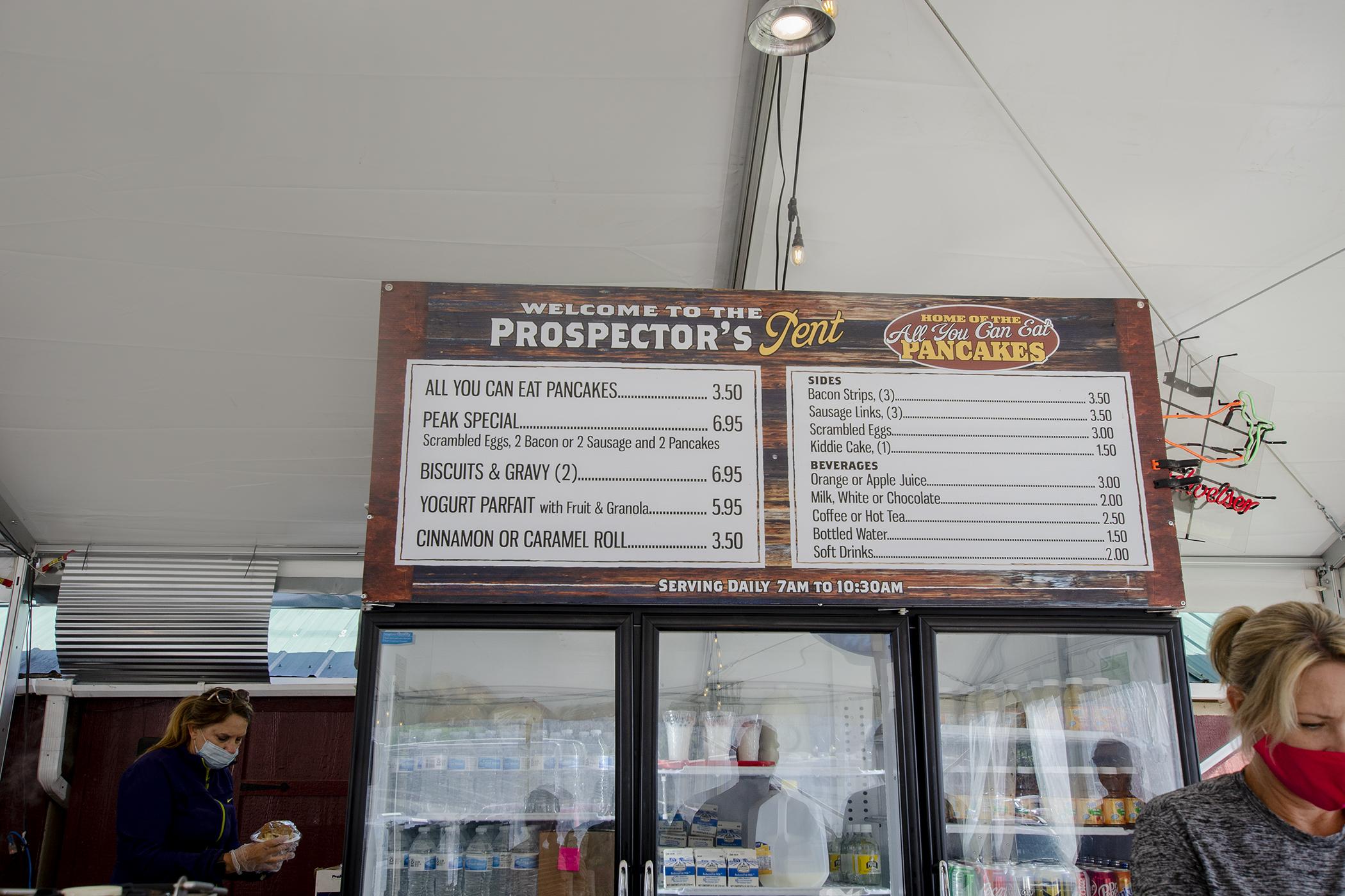 Prospector's Tent Menu