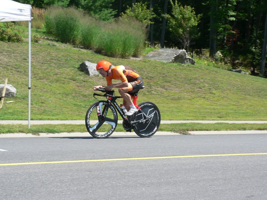 "Your Ontario Provincial Time Trial Champion, Ryan Roth crossing the line in a time of 53' 36""."