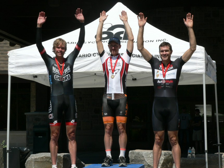 Elite Men's podium. From left to right: 2nd David Frake (Real Deal/Gears p/b Wasp Cam), 1st Ryan Roth (Silber Pro Cycling), 3rd Bruce Bird (Wheels of Bloor/Graywood Dev.)