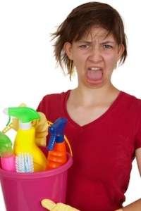 Screaming cleaning woman