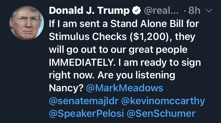Trump Ready To Send $1,200 Covid 19 Relief Stimulus Checks To Americans, Waiting On Nancy Pelosi And Democrats To Respond