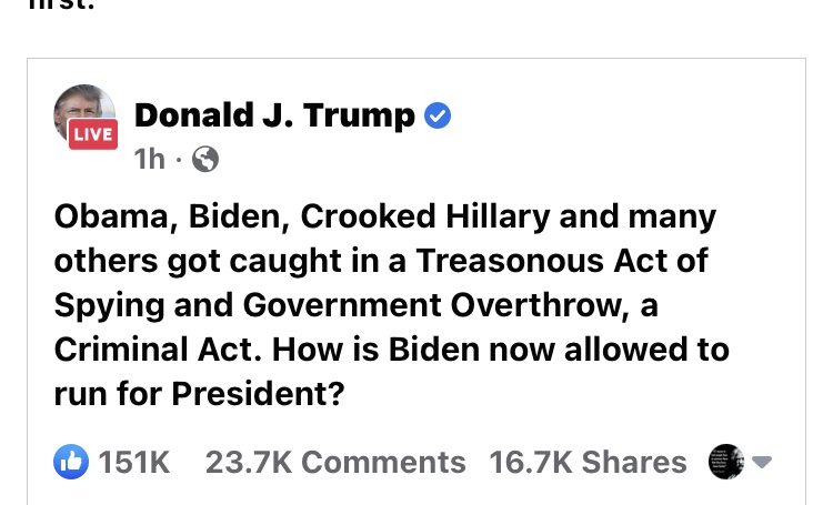 """As Mike Pence And Kamala Harris Debate, President Donald Trump Posts Claims That Obama And Others Were Involved In Government """"Treasonous Acts"""", While Still In Office!"""