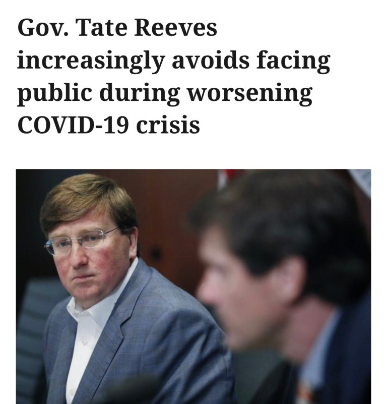 Gov. Tate Reeves increasingly avoids facing public during worsening COVID-19 crisis