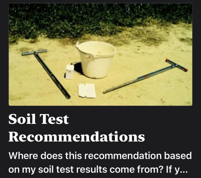 Soil Test Recommendations
