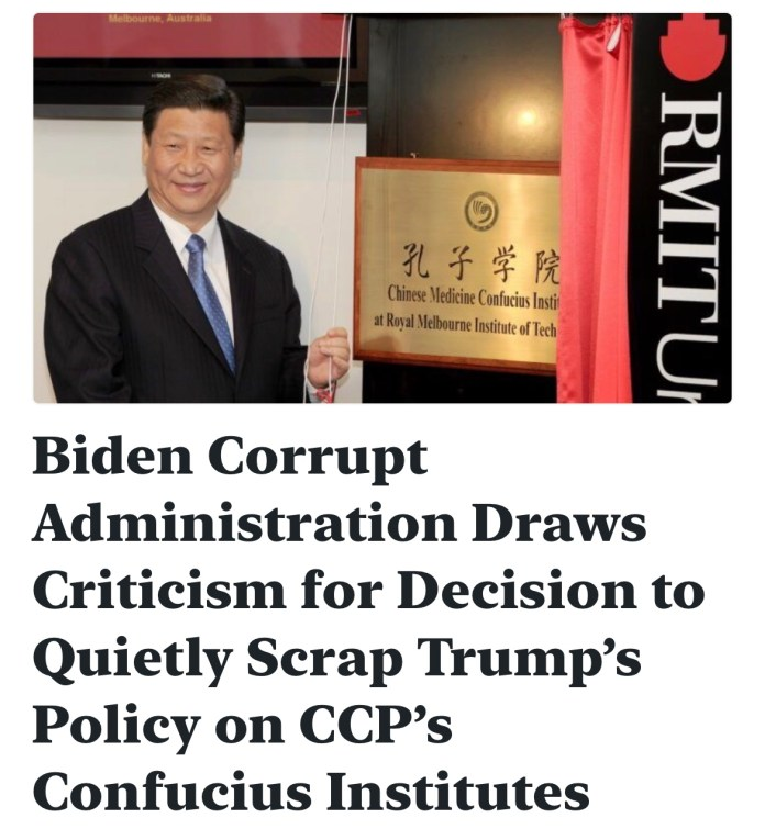 Biden Corrupt Administration Draws Criticism for Decision to Quietly Scrap Trump's Policy on CCP's Confucius Institutes