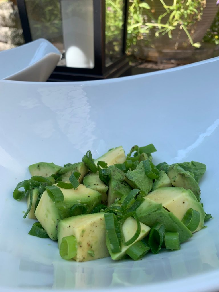 Not So Guac Salad in white bowl