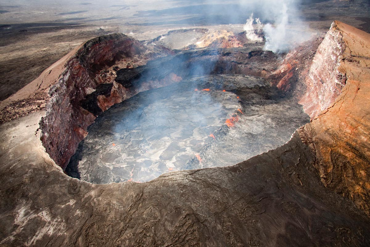 Kilauea Crater Lava Lake Grows