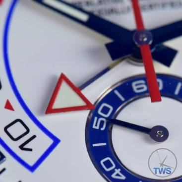 Sub-Dial and Regatta Chronograph triangular hand close up - Rolex Yachtmaster II- Hands-On Review [116680]