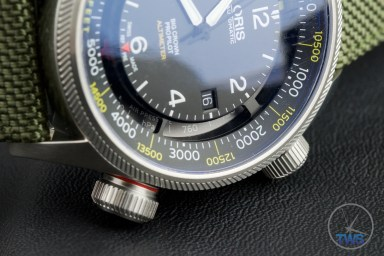 OrisBig Crown ProPilot Altimeter 47mm: Hands-On Review[01 733 7705 4134-07 5 23 14FC] - Oris watch sat sideways with its crowns down and air pressure gauge in view