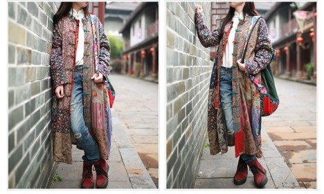 The Wavy Bunch Colorful Vintage Japanese Patchwork Jacket Sides
