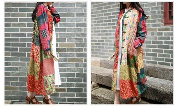 The Wavy Bunch Colorful Yellow Japanese Patchwork Jacket Sides