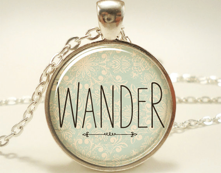 wander travel quote necklace etsy