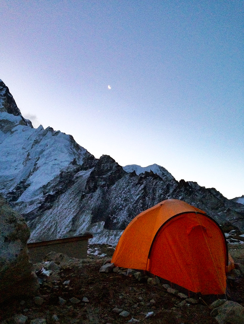 tent at gorak shep at dawn everest base camp trek