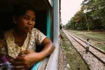 On the train from Yangon to Pyay, Myanmar. May 2014.