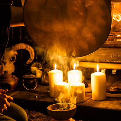 drum birthing over incense