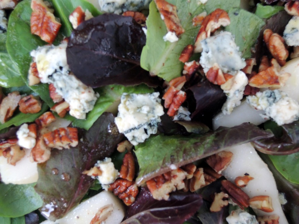 Salads, green, pear, Stilton and baby romaine with white wine vinaigrette 2