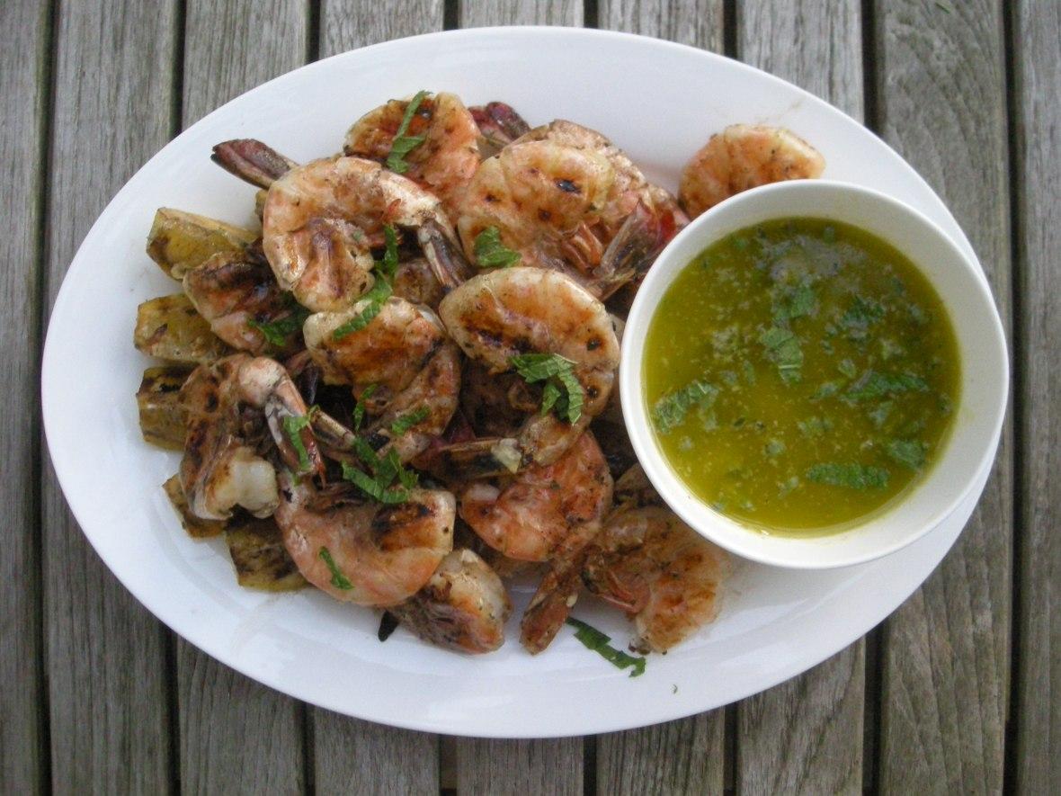 Shrimp, pan-grilled jumbo shrimp with lemon and oregano (Greek) 1
